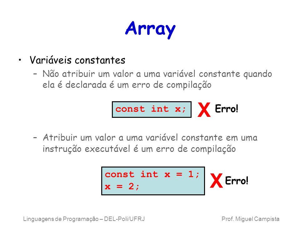 Array Variáveis constantes –Não atribuir um valor a uma variável constante quando ela é declarada é um erro de compilação –Atribuir um valor a uma var
