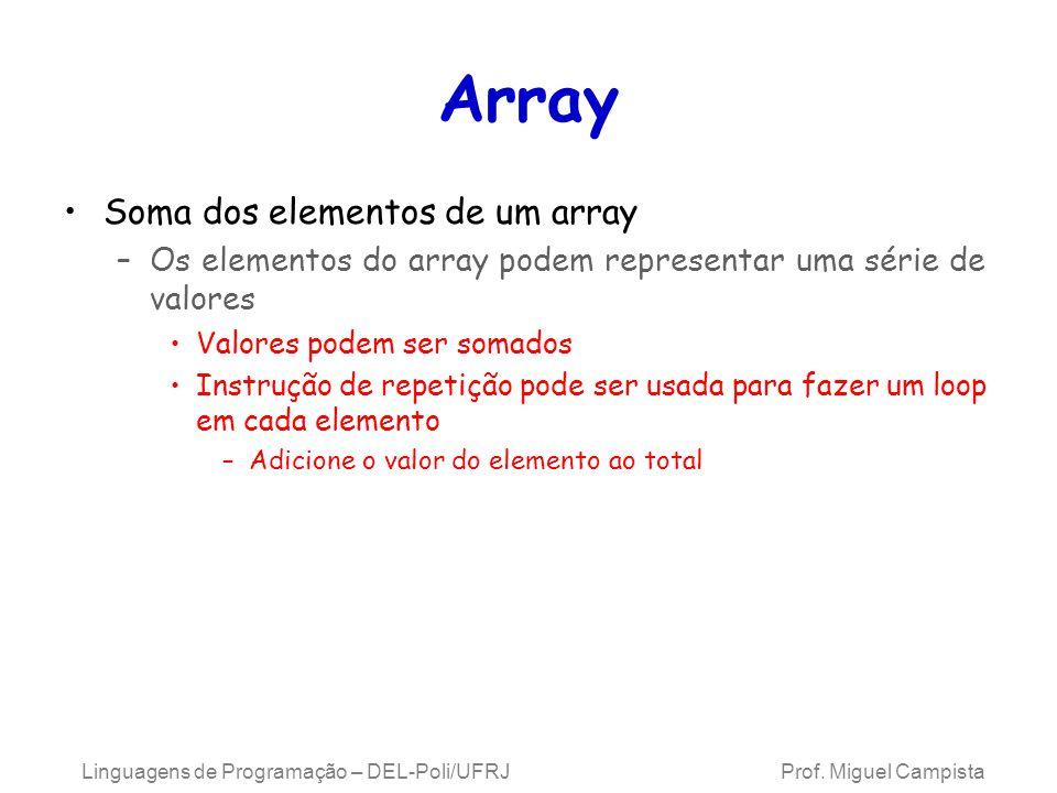 Array Soma dos elementos de um array –Os elementos do array podem representar uma série de valores Valores podem ser somados Instrução de repetição po