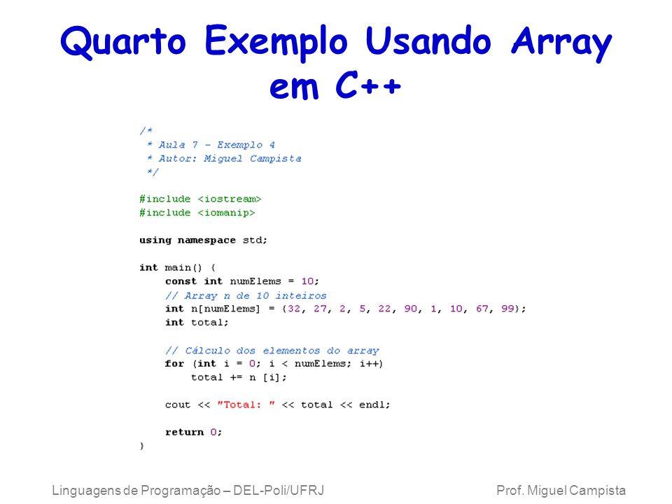 Quarto Exemplo Usando Array em C++ Linguagens de Programação – DEL-Poli/UFRJ Prof. Miguel Campista