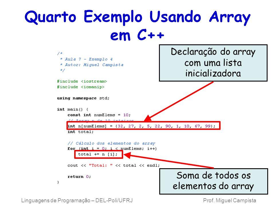 Quarto Exemplo Usando Array em C++ Linguagens de Programação – DEL-Poli/UFRJ Prof. Miguel Campista Declaração do array com uma lista inicializadora So