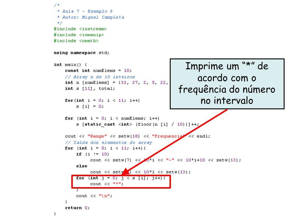 x Imprime um * de acordo com o frequência do número no intervalo