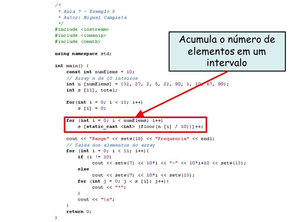 x Acumula o número de elementos em um intervalo