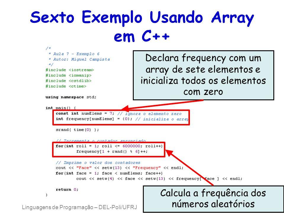 Sexto Exemplo Usando Array em C++ Linguagens de Programação – DEL-Poli/UFRJ Prof. Miguel Campista Declara frequency com um array de sete elementos e i
