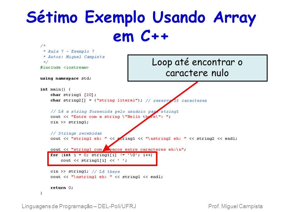 Sétimo Exemplo Usando Array em C++ Linguagens de Programação – DEL-Poli/UFRJ Prof. Miguel Campista Loop até encontrar o caractere nulo