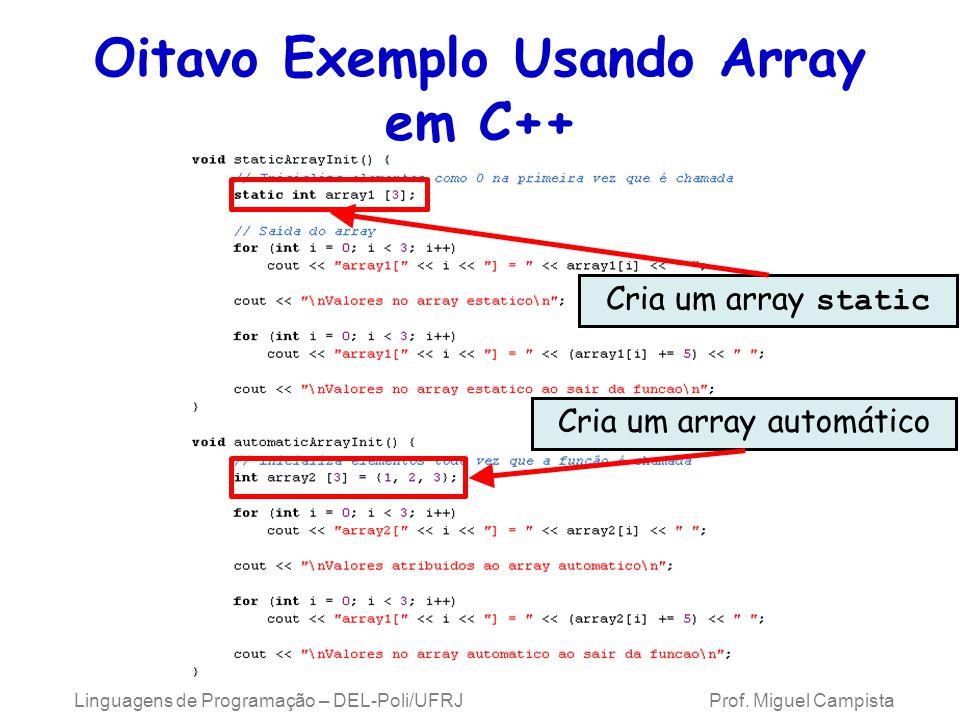 Oitavo Exemplo Usando Array em C++ Linguagens de Programação – DEL-Poli/UFRJ Prof. Miguel Campista Cria um array static Cria um array automático