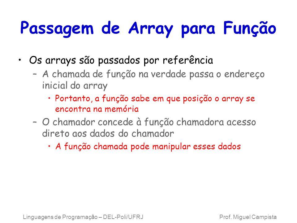 Passagem de Array para Função Os arrays são passados por referência –A chamada de função na verdade passa o endereço inicial do array Portanto, a funç