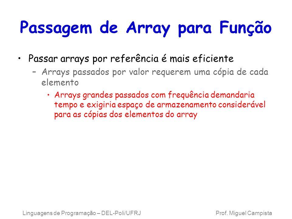 Passagem de Array para Função Passar arrays por referência é mais eficiente –Arrays passados por valor requerem uma cópia de cada elemento Arrays gran