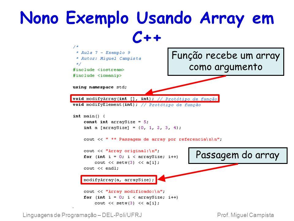 Nono Exemplo Usando Array em C++ Linguagens de Programação – DEL-Poli/UFRJ Prof. Miguel Campista Função recebe um array como argumento Passagem do arr