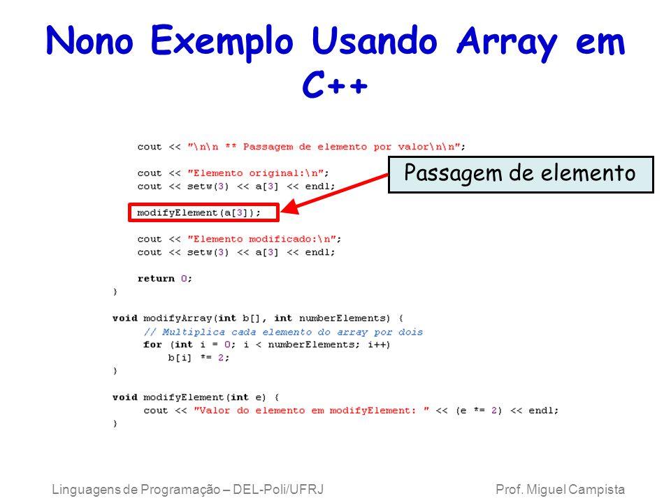 Nono Exemplo Usando Array em C++ Linguagens de Programação – DEL-Poli/UFRJ Prof. Miguel Campista Passagem de elemento