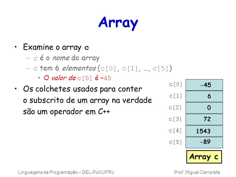 Array Declaração de um array –Os arrays ocupam espaço na memória –O programador especifica o tipo e o número de elementos Ex.: int c[ 12 ]; –c é um array de 12 int s –O tamanho do array deve ser uma constante inteira maior que zero –Os arrays podem ser declarados para conter valores de qualquer tipo de dados –Múltiplos arrays do mesmo tipo podem ser declarados em uma única declaração Use uma lista de nomes e tamanhos separada por vírgulas Linguagens de Programação – DEL-Poli/UFRJ Prof.