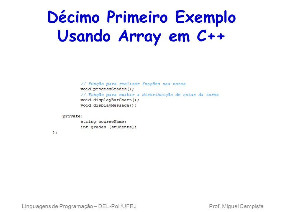 Décimo Primeiro Exemplo Usando Array em C++ Linguagens de Programação – DEL-Poli/UFRJ Prof. Miguel Campista