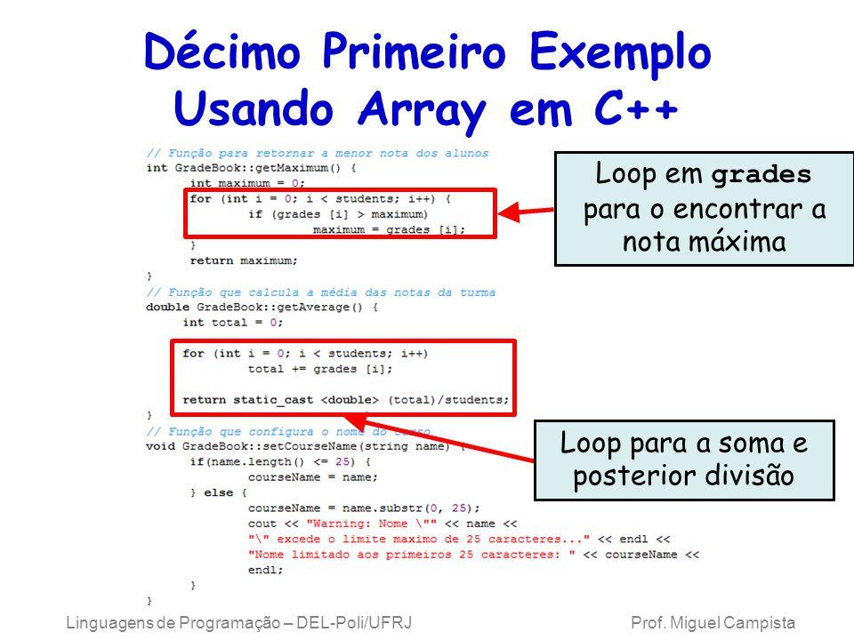 Décimo Primeiro Exemplo Usando Array em C++ Loop em grades para o encontrar a nota máxima Loop para a soma e posterior divisão Linguagens de Programaç