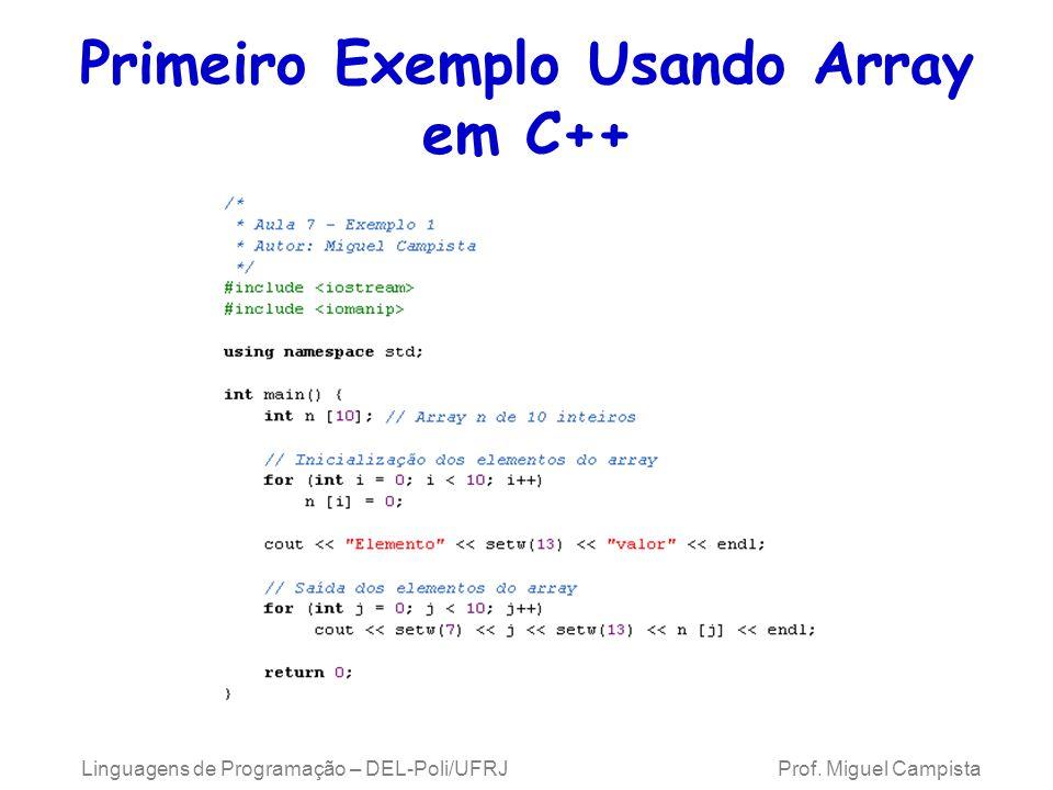 Array Emprego de arrays de caracteres para manipular strings –Podem também ser inicializados com constantes de caractere individuais em uma lista inicializadora Ex.: char string1[] = { f , i , r , s , t , \0 }; –Além disso, podem inserir uma string diretamente em um array de caracteres por meio do teclado, usando cin e >> Ex.: cin >> string1; –cin >> talvez leia mais caracteres que o array pode armazenar Linguagens de Programação – DEL-Poli/UFRJ Prof.