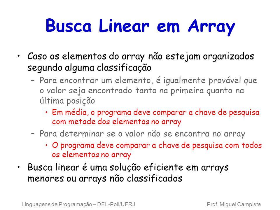 Busca Linear em Array Caso os elementos do array não estejam organizados segundo alguma classificação –Para encontrar um elemento, é igualmente prováv