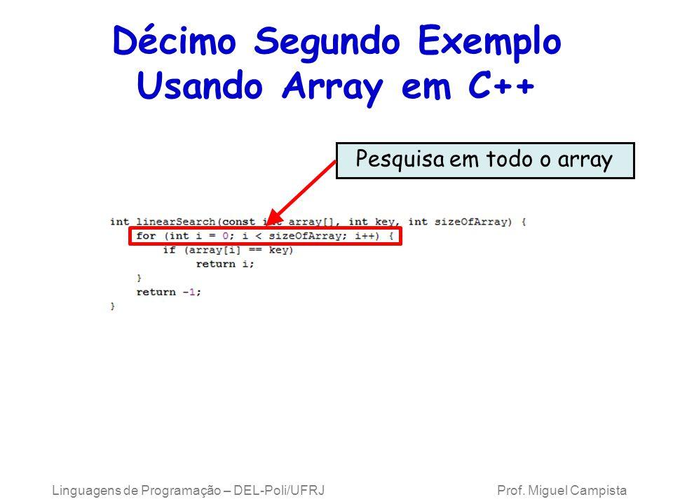 Décimo Segundo Exemplo Usando Array em C++ Pesquisa em todo o array Linguagens de Programação – DEL-Poli/UFRJ Prof. Miguel Campista