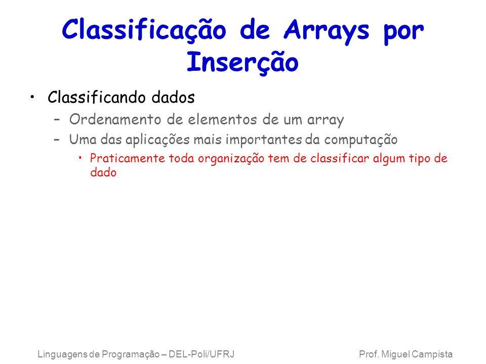 Classificação de Arrays por Inserção Classificando dados –Ordenamento de elementos de um array –Uma das aplicações mais importantes da computação Prat
