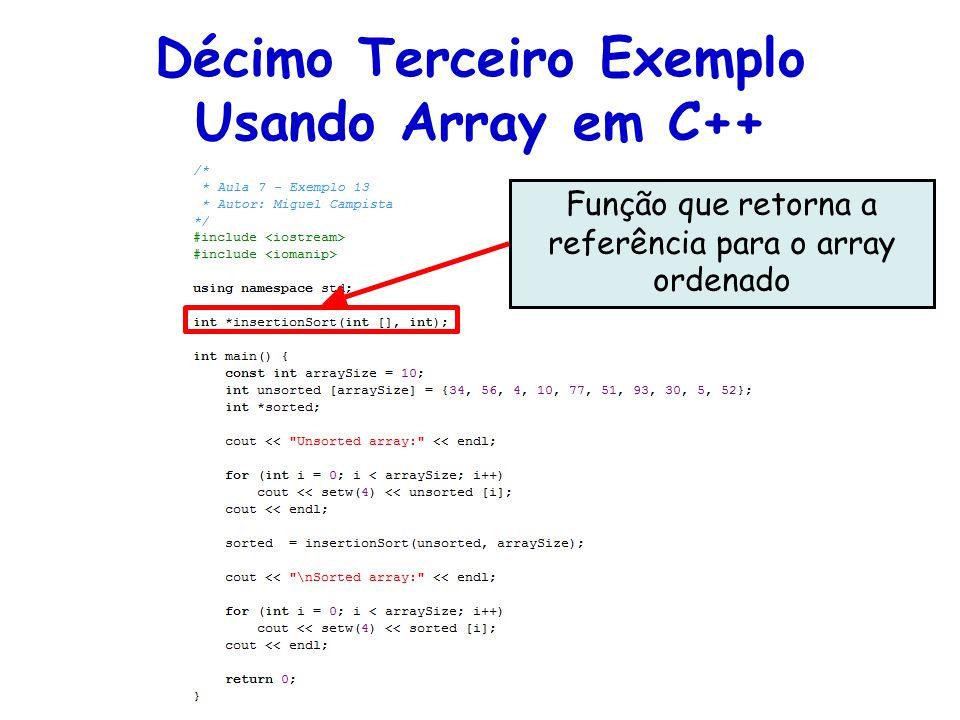 Função que retorna a referência para o array ordenado