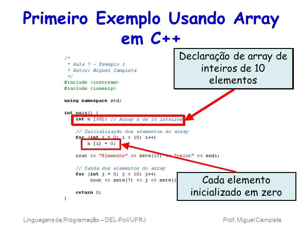 Primeiro Exemplo Usando Array em C++ Linguagens de Programação – DEL-Poli/UFRJ Prof. Miguel Campista Declaração de array de inteiros de 10 elementos C