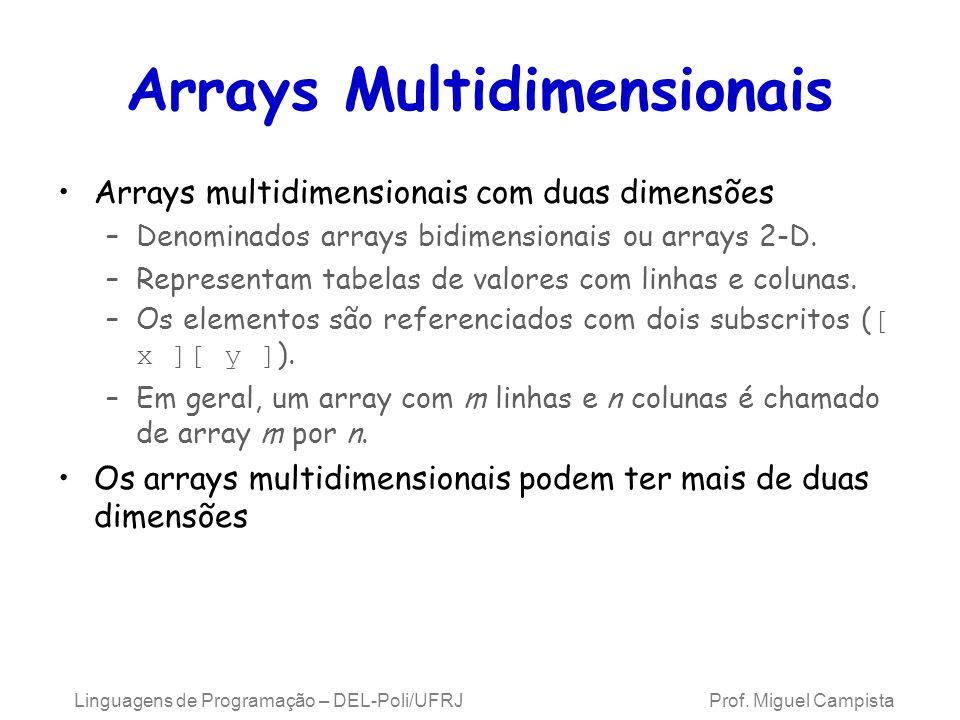 Arrays Multidimensionais Arrays multidimensionais com duas dimensões –Denominados arrays bidimensionais ou arrays 2-D. –Representam tabelas de valores
