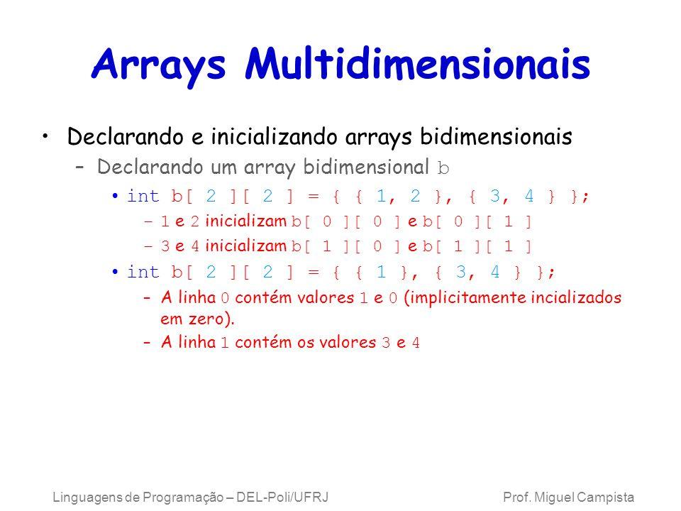 Arrays Multidimensionais Declarando e inicializando arrays bidimensionais –Declarando um array bidimensional b int b[ 2 ][ 2 ] = { { 1, 2 }, { 3, 4 }
