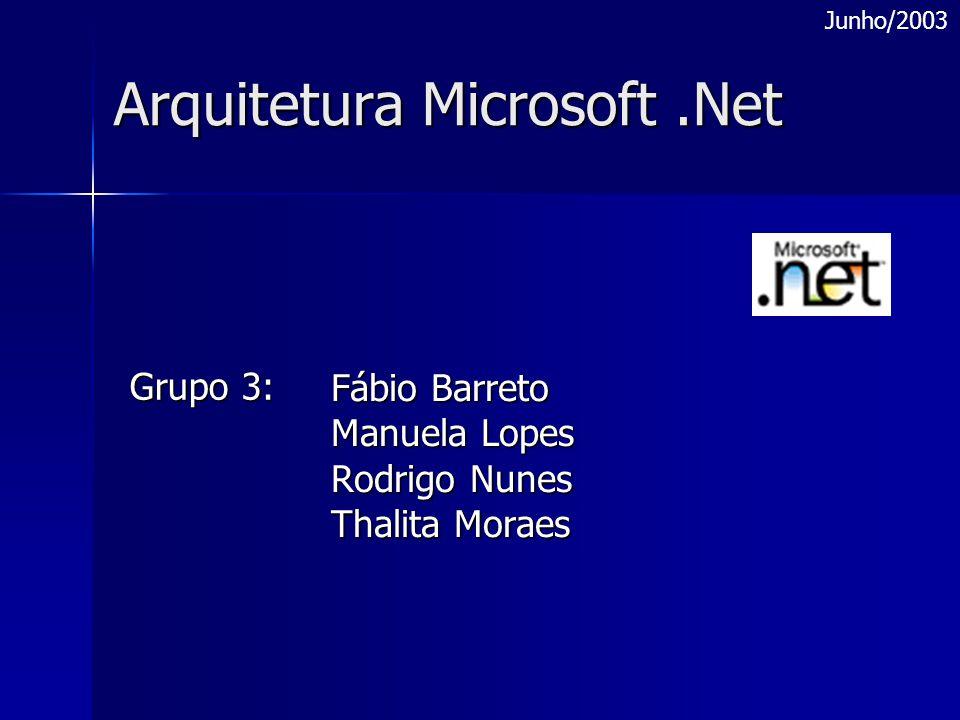 Arquitetura Microsoft.Net Fábio Barreto Manuela Lopes Rodrigo Nunes Thalita Moraes Grupo 3: Junho/2003