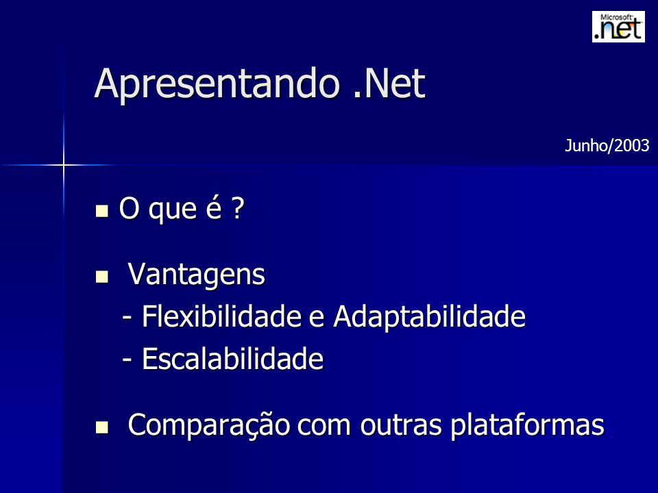 Apresentando.Net O que é ? O que é ? Vantagens Vantagens - Flexibilidade e Adaptabilidade - Flexibilidade e Adaptabilidade - Escalabilidade - Escalabi