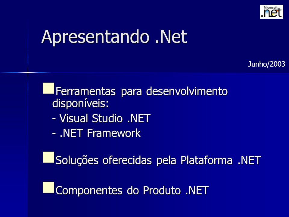 Apresentando.Net Ferramentas para desenvolvimento disponíveis: Ferramentas para desenvolvimento disponíveis: - Visual Studio.NET - Visual Studio.NET -.NET Framework -.NET Framework Soluções oferecidas pela Plataforma.NET Soluções oferecidas pela Plataforma.NET Componentes do Produto.NET Componentes do Produto.NET Junho/2003