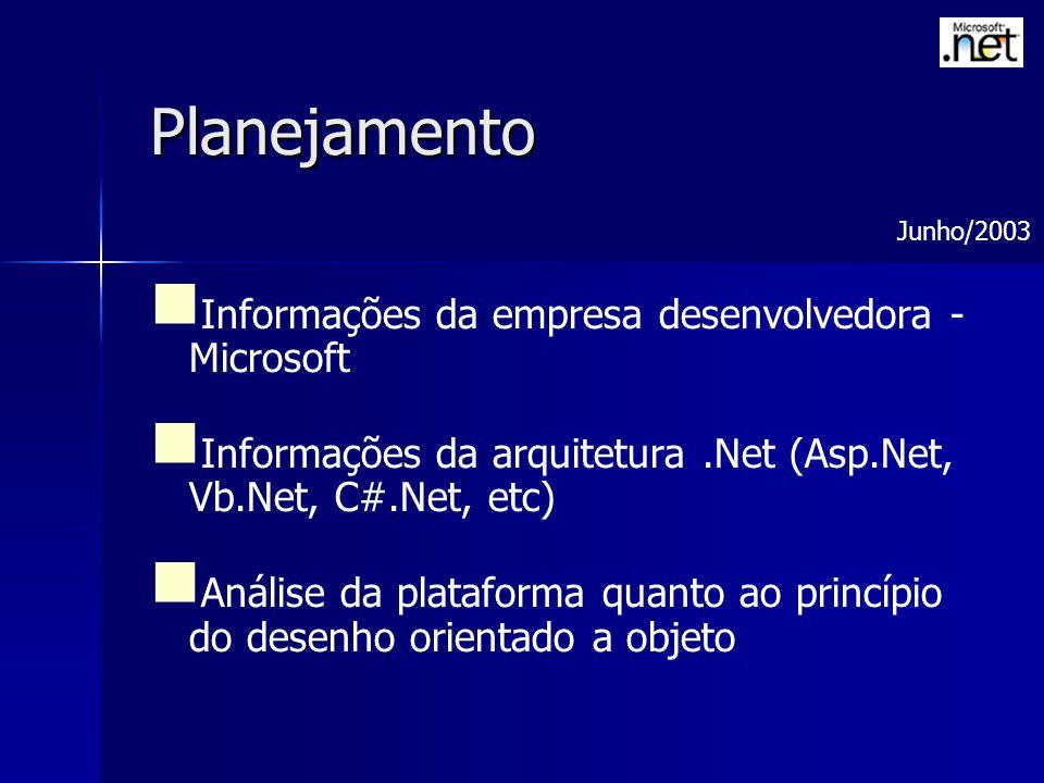 Planejamento Informações da empresa desenvolvedora - Microsoft Informações da arquitetura.Net (Asp.Net, Vb.Net, C#.Net, etc) Análise da plataforma quanto ao princípio do desenho orientado a objeto Junho/2003