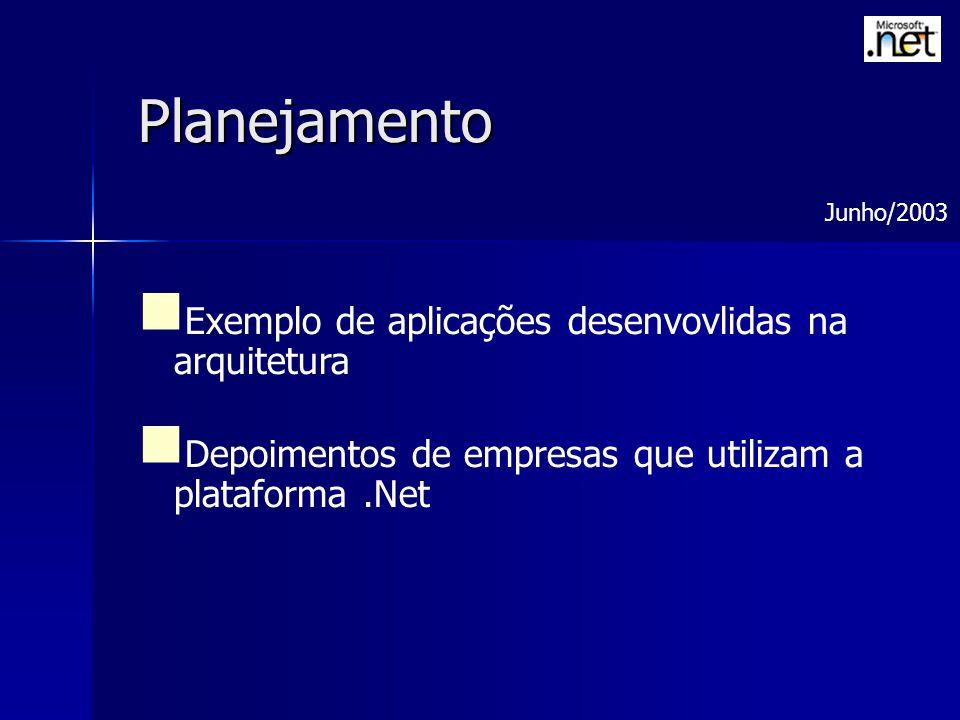 Planejamento Exemplo de aplicações desenvovlidas na arquitetura Depoimentos de empresas que utilizam a plataforma.Net Junho/2003