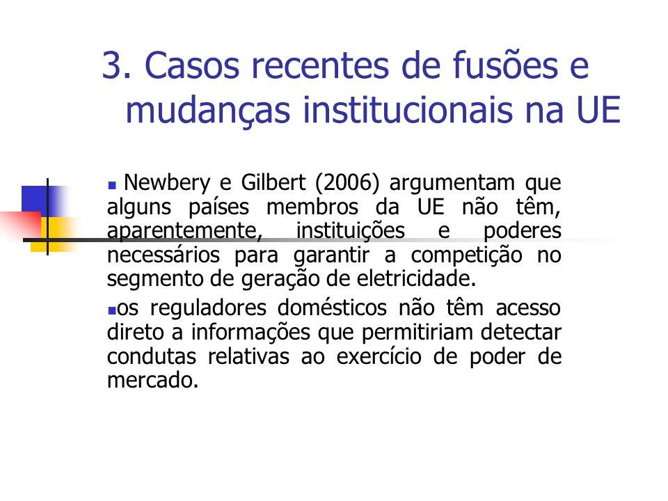 3. Casos recentes de fusões e mudanças institucionais na UE Newbery e Gilbert (2006) argumentam que alguns países membros da UE não têm, aparentemente