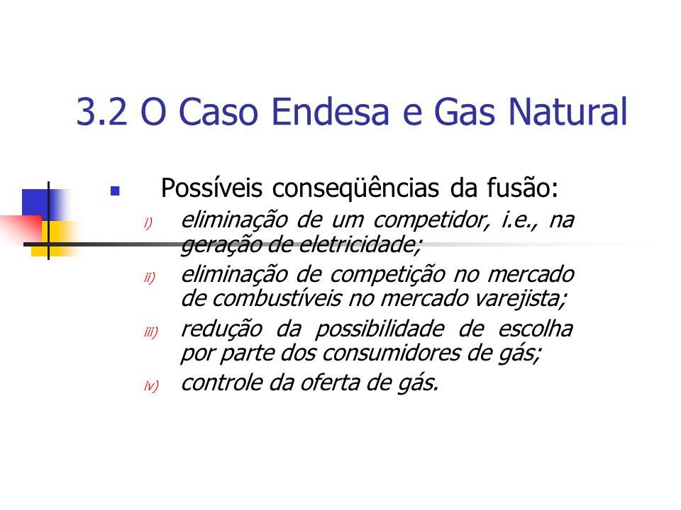 3.2 O Caso Endesa e Gas Natural Possíveis conseqüências da fusão: i) eliminação de um competidor, i.e., na geração de eletricidade; ii) eliminação de