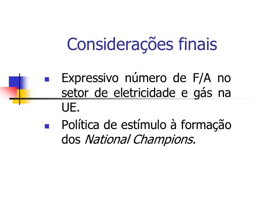 Considerações finais Expressivo número de F/A no setor de eletricidade e gás na UE. Política de estímulo à formação dos National Champions.