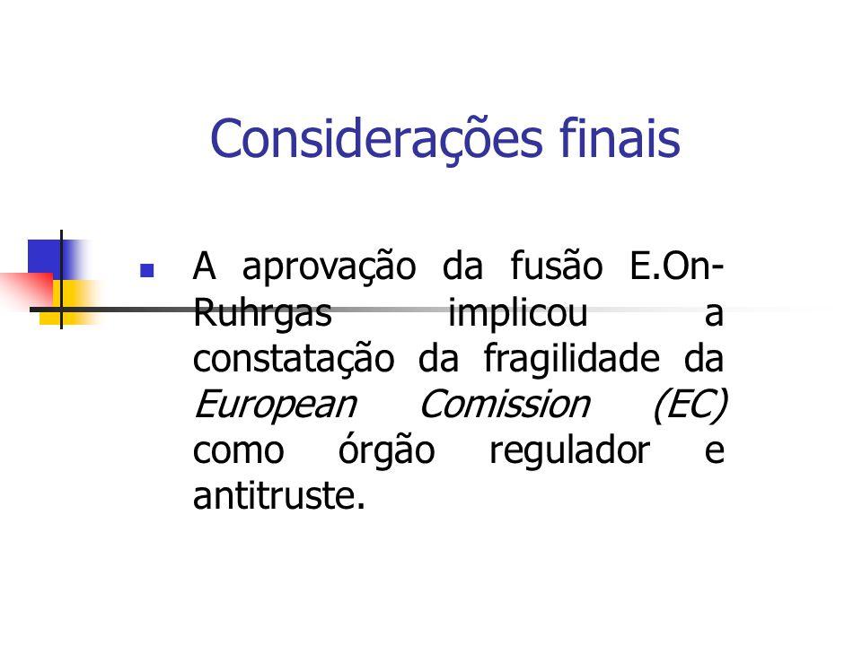 Considerações finais A aprovação da fusão E.On- Ruhrgas implicou a constatação da fragilidade da European Comission (EC) como órgão regulador e antitr