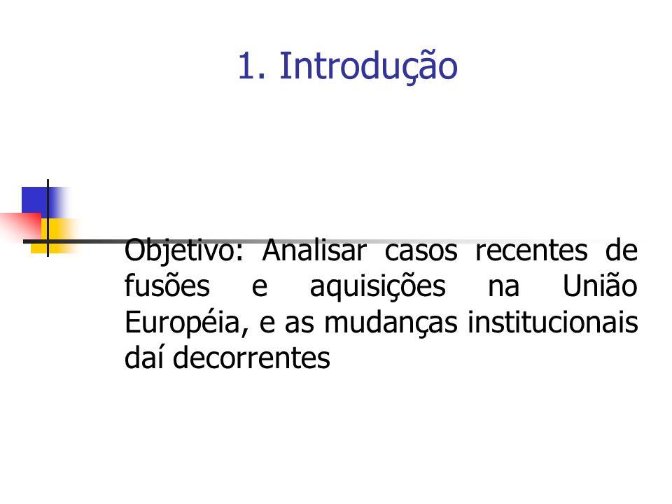 1. Introdução Objetivo: Analisar casos recentes de fusões e aquisições na União Européia, e as mudanças institucionais daí decorrentes