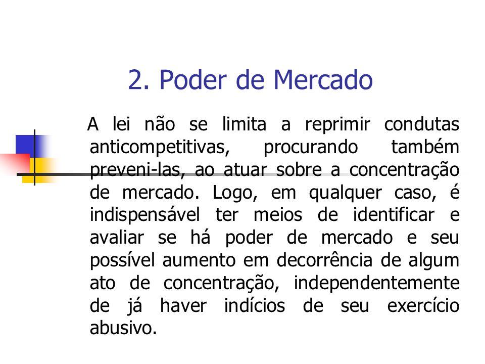 2. Poder de Mercado A lei não se limita a reprimir condutas anticompetitivas, procurando também preveni-las, ao atuar sobre a concentração de mercado.