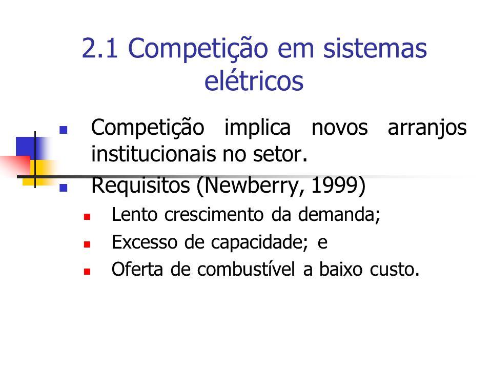 2.1 Competição em sistemas elétricos Competição implica novos arranjos institucionais no setor. Requisitos (Newberry, 1999) Lento crescimento da deman