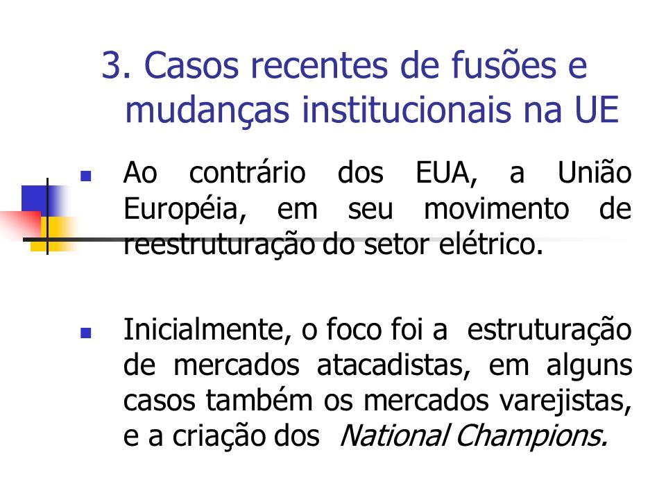 3. Casos recentes de fusões e mudanças institucionais na UE Ao contrário dos EUA, a União Européia, em seu movimento de reestruturação do setor elétri