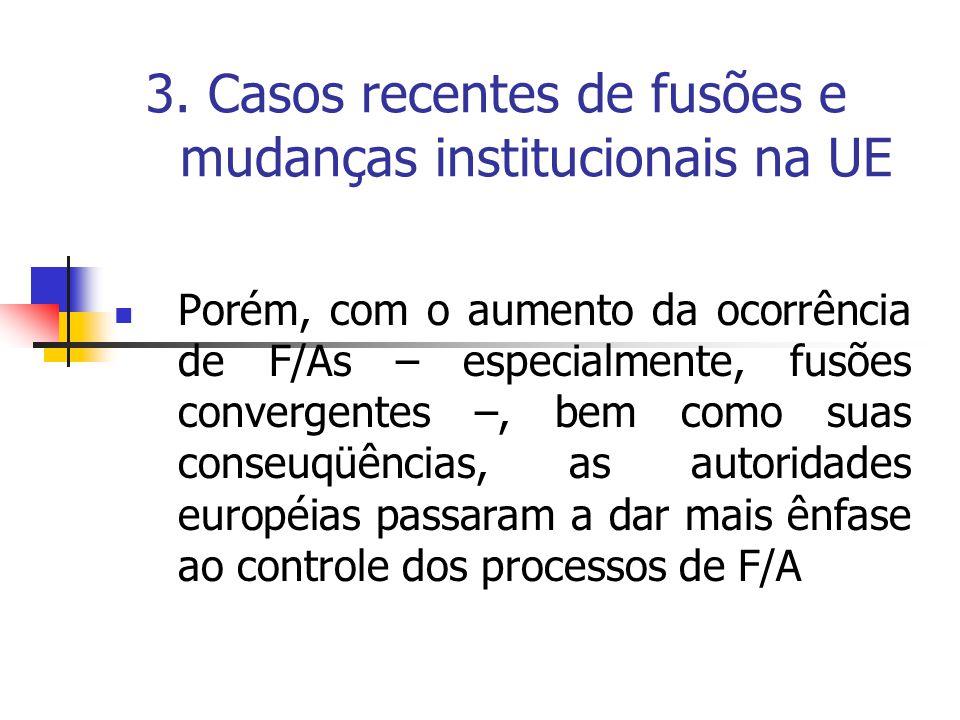 3. Casos recentes de fusões e mudanças institucionais na UE Porém, com o aumento da ocorrência de F/As – especialmente, fusões convergentes –, bem com