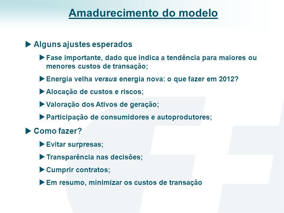 Alguns ajustes esperados Fase importante, dado que indica a tendência para maiores ou menores custos de transação; Energia velha versus energia nova: o que fazer em 2012.