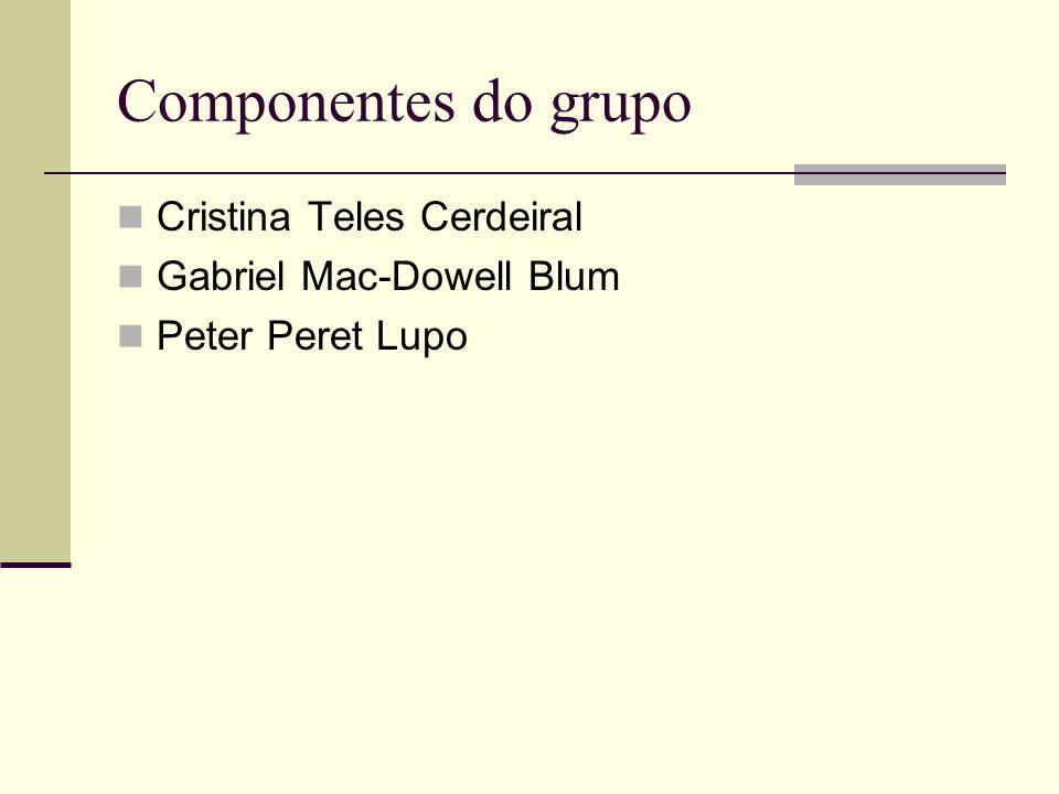 Componentes do grupo Cristina Teles Cerdeiral Gabriel Mac-Dowell Blum Peter Peret Lupo