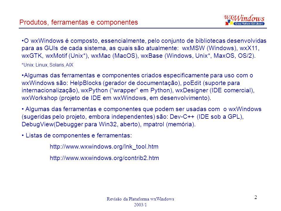 Revisão da Plataforma wxWindows 2003/1 2 Produtos, ferramentas e componentes O wxWindows é composto, essencialmente, pelo conjunto de bibliotecas dese