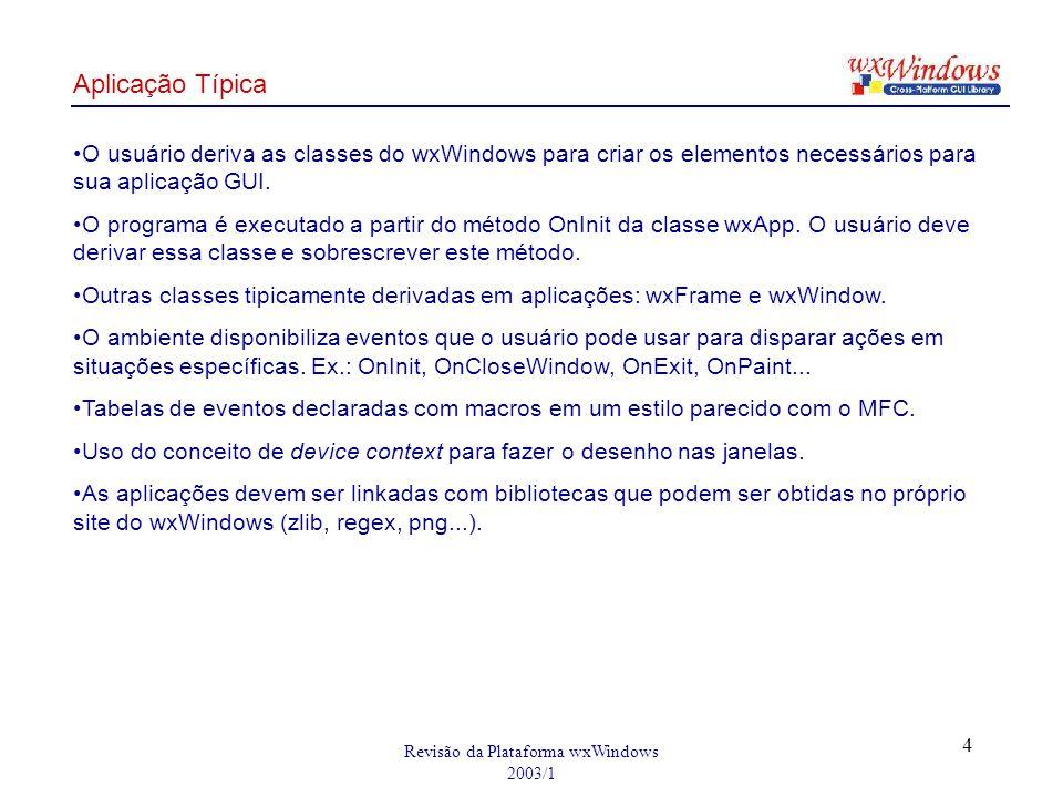 Revisão da Plataforma wxWindows 2003/1 4 O usuário deriva as classes do wxWindows para criar os elementos necessários para sua aplicação GUI. O progra