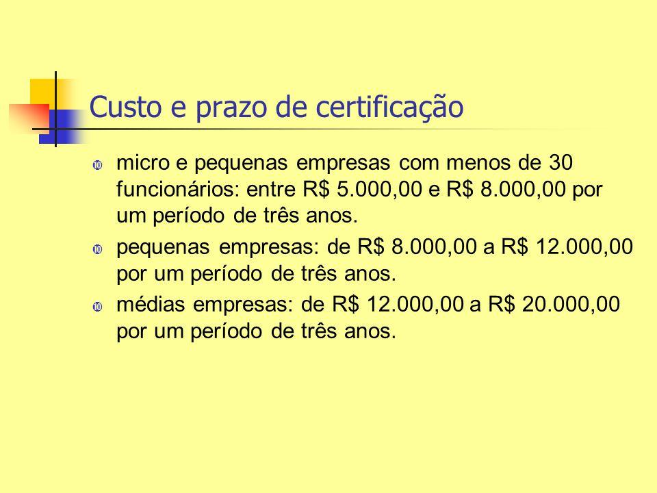 Custo e prazo de certificação micro e pequenas empresas com menos de 30 funcionários: entre R$ 5.000,00 e R$ 8.000,00 por um período de três anos. peq