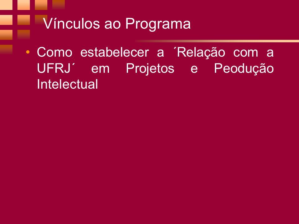 Vínculos ao Programa Como estabelecer a ´Relação com a UFRJ´ em Projetos e Peodução Intelectual