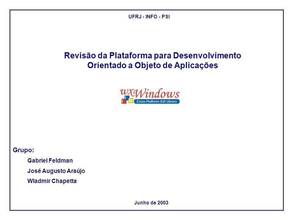 Revisão da Plataforma para Desenvolvimento Orientado a Objeto de Aplicações Grupo: Gabriel Feldman José Augusto Araújo Wladmir Chapetta Junho de 2003 UFRJ - INFO - PSI