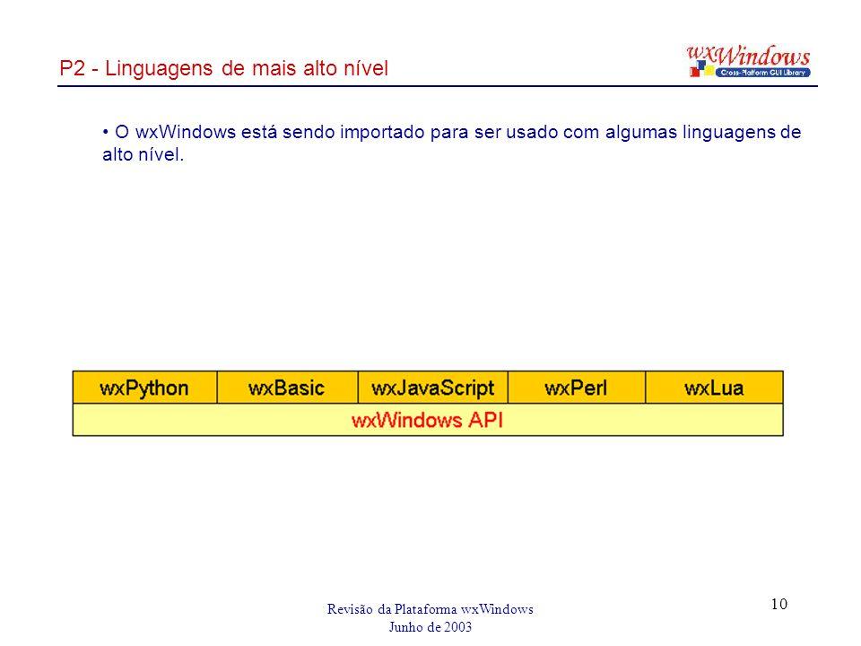 Revisão da Plataforma wxWindows Junho de 2003 10 P2 - Linguagens de mais alto nível O wxWindows está sendo importado para ser usado com algumas linguagens de alto nível.