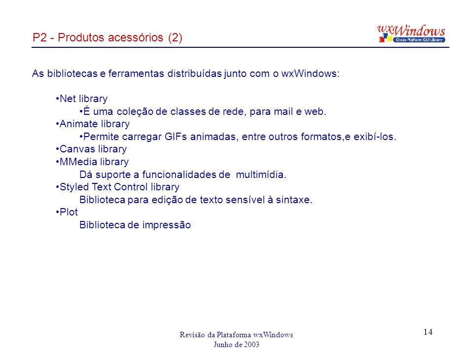 Revisão da Plataforma wxWindows Junho de 2003 14 P2 - Produtos acessórios (2) As bibliotecas e ferramentas distribuídas junto com o wxWindows: Net library É uma coleção de classes de rede, para mail e web.