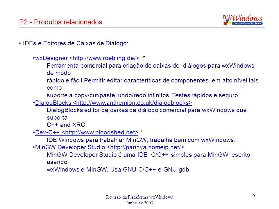 Revisão da Plataforma wxWindows Junho de 2003 15 P2 - Produtos relacionados IDEs e Editores de Caixas de Diálogo: wxDesigner * Ferramenta comercial para criação de caixas de diálogos para wxWindows de modo rápido e fácil.Permitir editar caracteríticas de componentes em alto nível tais como suporte a copy/cut/paste, undo/redo infinitos.