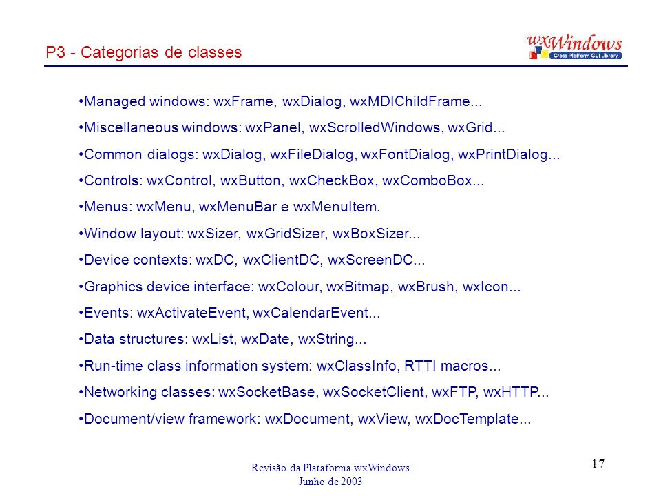 Revisão da Plataforma wxWindows Junho de 2003 17 P3 - Categorias de classes Managed windows: wxFrame, wxDialog, wxMDIChildFrame...