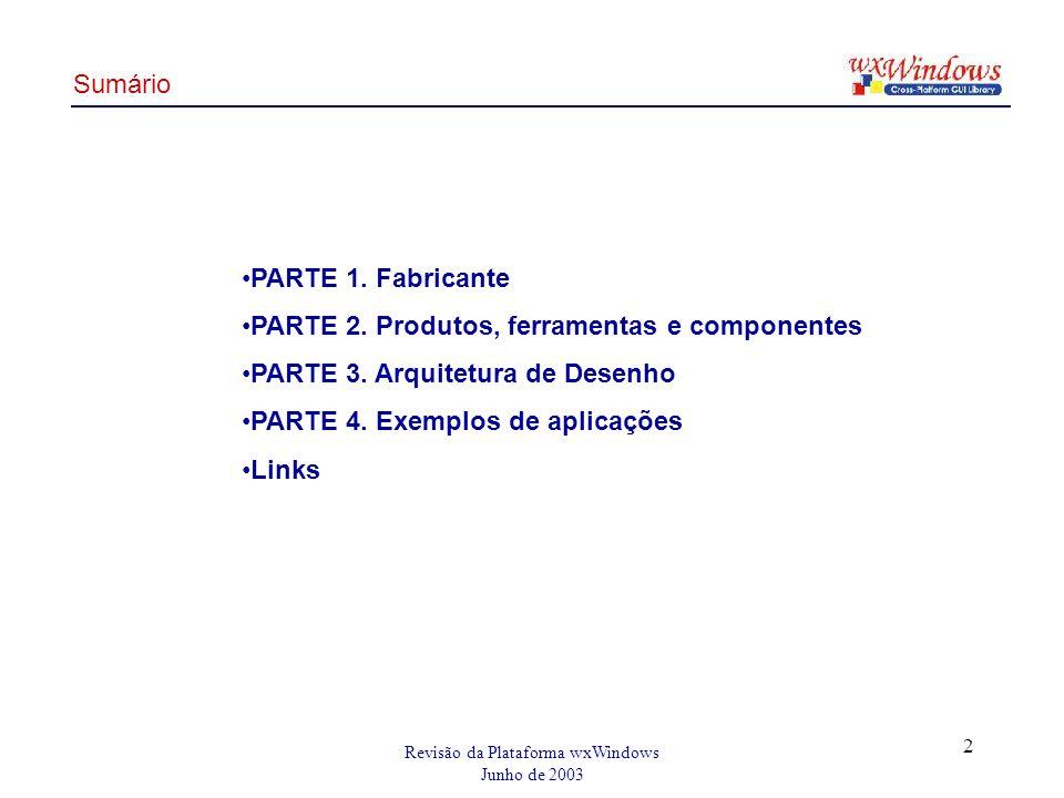 Revisão da Plataforma wxWindows Junho de 2003 2 PARTE 1.